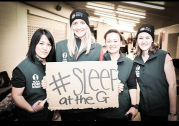 Team Fort Knox holding a Sleep at The G sign