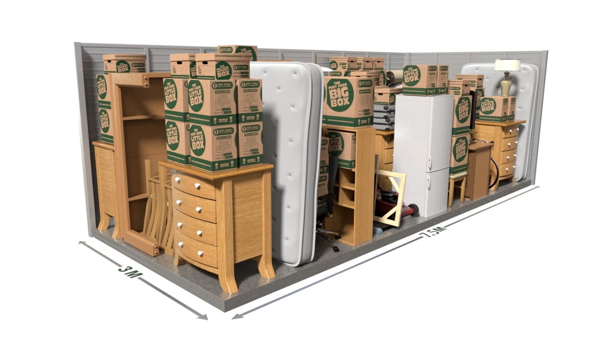 80% of our customers assume they need more space than they really do. Using our space estimator gives a more detailed example of storage spaces and what will fit.