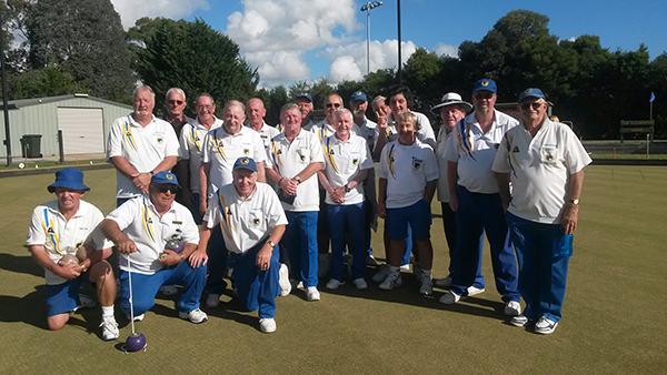 The local Noble Park bowls team celebrating after a big win last season.