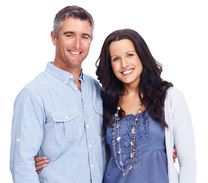 man and woman with arm around each other both dressed in blue