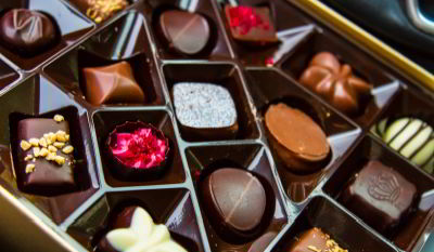 Tray of assorted fine chocolates