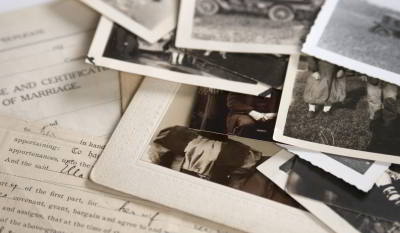 Pile of old photos and documents