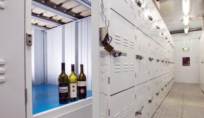 Wine bottles in refrigerated storage