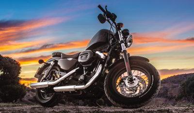 Black harley davidson cruiser motorbike