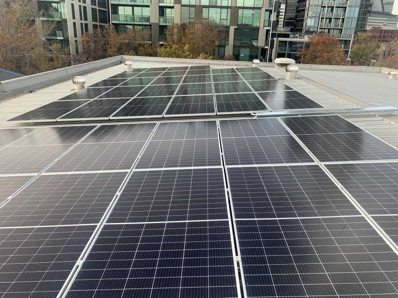 400W solar panels on roof of Fort Knox Self Storage West Melbourne